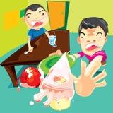 孩子和甜点 库存照片