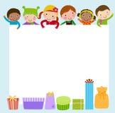 孩子和礼物盒框架 免版税库存图片