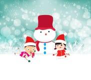 孩子和雪人背景与雪花 免版税库存图片