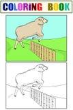 孩子和颜色的着色,绵羊跳过篱芭 在农场的训练动物 向量 库存例证