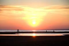 孩子和骑自行车的一个人在海滩在日落 免版税库存照片