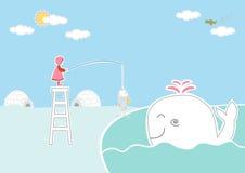 孩子和鲸鱼在北极背景,设计孩子卡片的 免版税库存照片