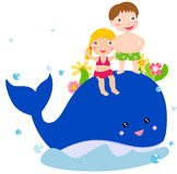 孩子和鲸鱼 免版税库存照片