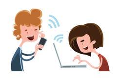 孩子和今天互联网例证漫画人物 库存图片