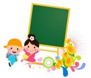 孩子和黑板 库存图片