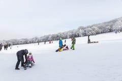 孩子和他们的父母在山边sledding 图库摄影