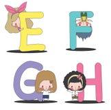 孩子和EFGH集合 图库摄影