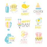 孩子商店电视节目预告五颜六色的传染媒介设计模板标志系列与被概述的幼稚玩具剪影的 库存照片