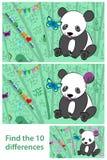 孩子困惑-察觉在熊猫上的区别 库存图片