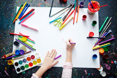 孩子图画  免版税库存照片