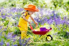 孩子在会开蓝色钟形花的草庭院里 免版税库存图片