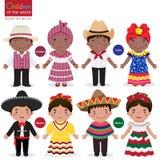孩子在传统服装牙买加古巴墨西哥 向量例证