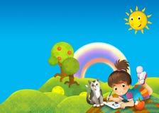 孩子在公园-图画 图库摄影