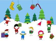 孩子在冬天 图库摄影
