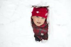 孩子在冬天 库存图片
