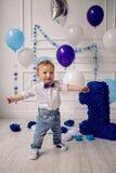 孩子在出生日一年 免版税库存照片