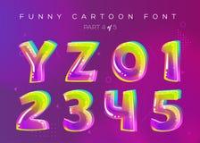 孩子在动画片样式的向量字体 明亮和五颜六色的3D信件 皇族释放例证