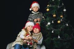 孩子在屋子里装饰圣诞树 免版税库存图片