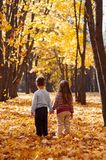 孩子在握手的秋天公园站立 库存照片