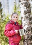 孩子在春天森林里收集桦树树汁 免版税库存照片