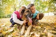 孩子在有一只德国牧羊犬的公园 免版税库存照片