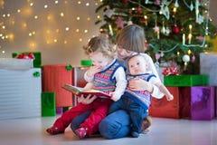 孩子在有一棵美丽的圣诞树的一个暗室 免版税图库摄影