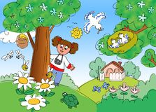 孩子在有照片照相机动画片例证的乡下 免版税库存图片