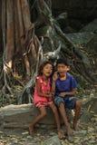 孩子在柬埔寨 库存照片