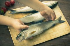 孩子在桌上把鲜鱼放 新鲜的鱼 免版税库存照片