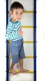 孩子在梯子站立 免版税库存照片