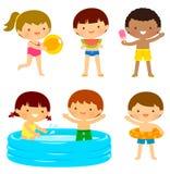 孩子在海滩或在水池 库存例证