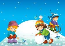孩子在爬犁的冬天 免版税库存图片