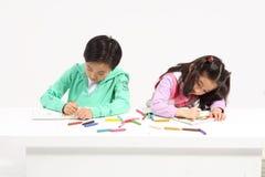 孩子在研究中 免版税图库摄影