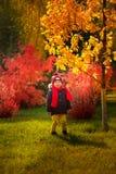 孩子在秋天走在公园-一个微笑的男孩立场b 免版税库存图片