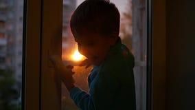 孩子在窗台和看站立窗口太阳 日落 股票录像