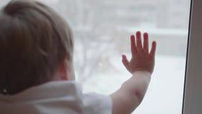 孩子在落在街道上的窗口和观看的雪附近站立 在玻璃窗的特写镜头手 影视素材