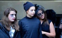 孩子在索非亚, 10月的保加利亚庆祝万圣夜 30日2014年 免版税库存照片