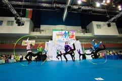 孩子在SpringCup国际舞蹈竞争中竞争 库存图片