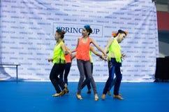 孩子在SpringCup国际舞蹈竞争中竞争 免版税库存图片