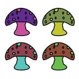 孩子墙纸的五颜六色的蘑菇动画片 免版税库存图片