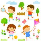孩子外部使用 免版税图库摄影