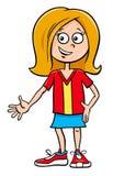 孩子女孩字符动画片例证 免版税库存图片