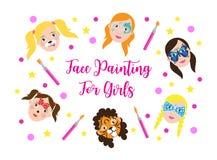 孩子女孩汇集的面孔绘画 设置在动画片平的样式的象横幅的,海报 儿童` s假日 库存例证