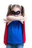 孩子女孩演奏超级英雄 免版税图库摄影