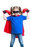 孩子女孩演奏超级英雄 免版税库存图片