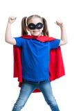 孩子女孩演奏超级英雄 免版税库存照片