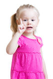 孩子女孩点一个手指 免版税库存照片