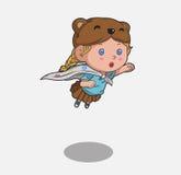 孩子女孩超级英雄 免版税库存图片