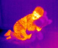 孩子女用连杉衬裤自计温度计 免版税库存图片