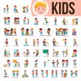 孩子孩子被设置的传染媒介 婴孩生活方式情况 花费时间一起在家,室外 被隔绝的动画片 向量例证